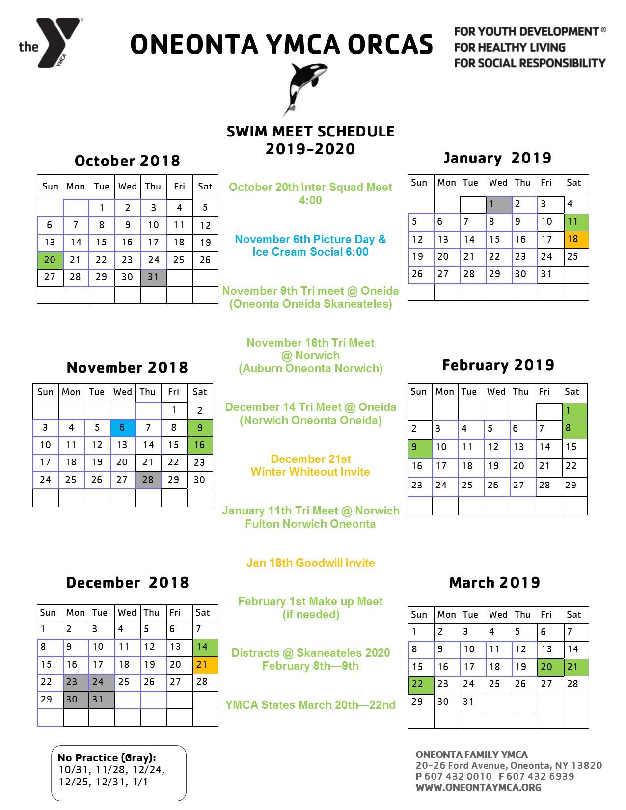 Swim Meet Schedule 2019-20