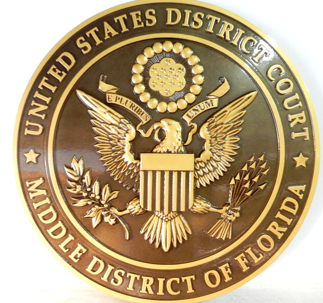 U30136 - 3-D Bas-Relief Polished  Brass Wall Plaque for United States District Court Judge, with Dark Bronze Background
