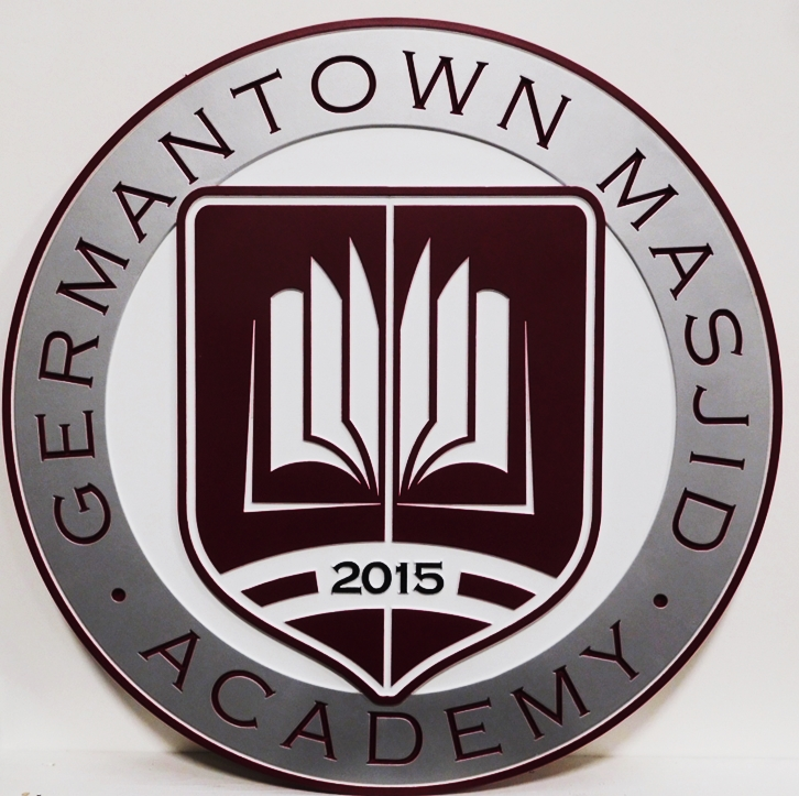 TP-1170 - Carved Plaque of the Seal of the Germantown Masjid Academy, 2.5D Artist-Painted