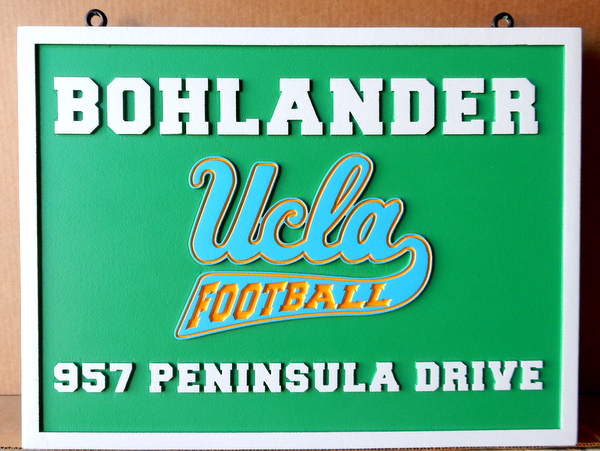 Y34491 - Carved 2.5-D HDU Address Plaque with UCLA Football Logo