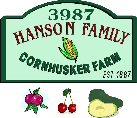 O24718 - Carved and Sandblasted HDU Sign for Corn Husker Farm with Alternate Crops of Plums, Cherries and Avocados