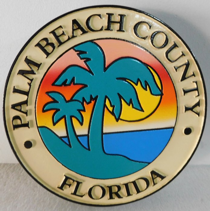 X33369 - Carved 2.5-D HDU Full-Color Plaque of the Seal of Palm Beach County, Florida