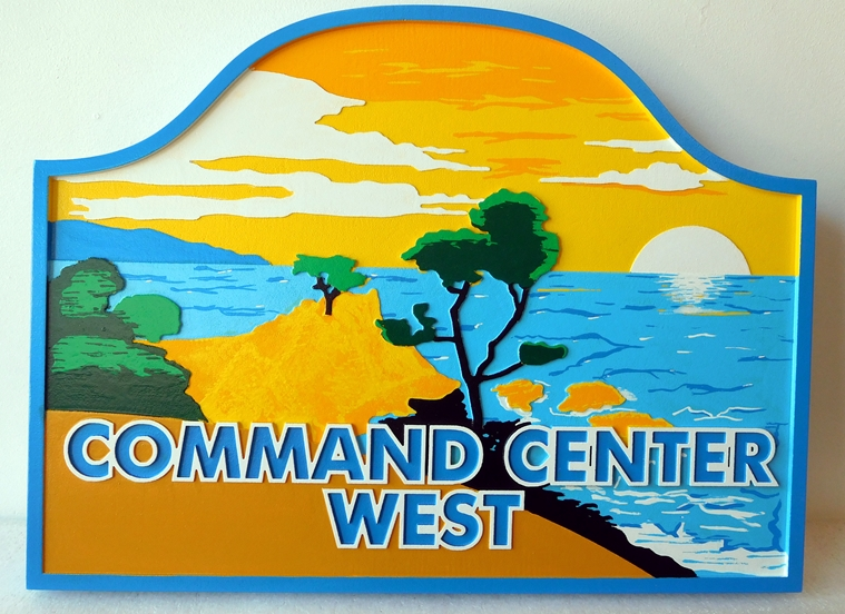 "L21205 - Carved 2.5-D HDU Coastal Residence  Sign ""Command Center West"" ,with Artwork of a Coastal  Scene ""Spanish Bay"", Monterey, California."