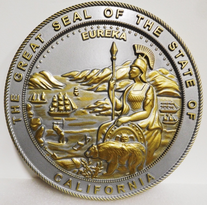 BP-1046 - Carved Plaque of the Seal of the State of California, Metallic Brass PaInted with Hand-Rubbed Metallic Silver Paint