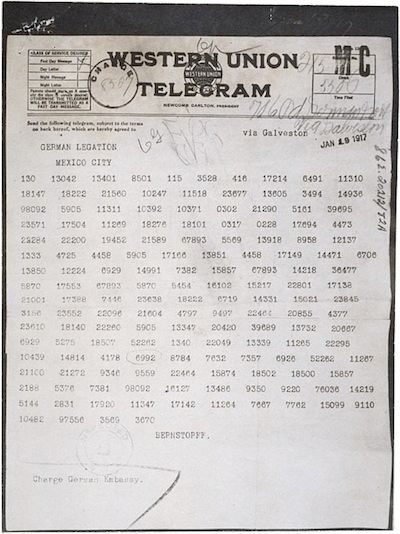 1917: President Wilson was informed of the contents of the Zimmermann telegram.
