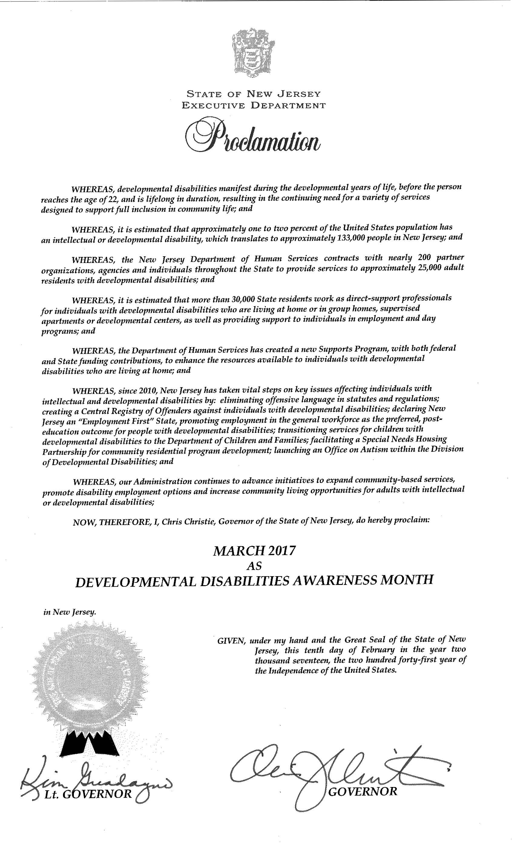 State of New Jersey Proclamation: March as DD Awareness Month