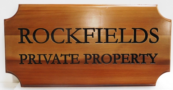 "I18953- Engraved Cedar Wood Property Name Sign, ""Rockfields"""""
