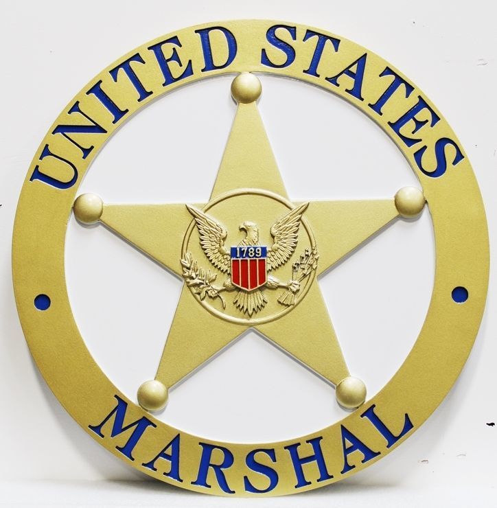 AP-2492 -  Carved 3-D HDU Plaque of the Badge of the United States MarshalService