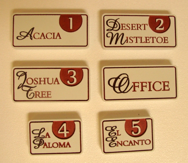 T29215 - Engraved  HDU  Room Name and Number Plaques with  Script Text