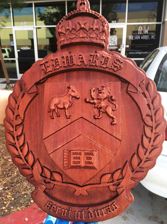 XP-1180 - Carved Wall Plaque of Family Coat-of-Arms with Crown, Shield and Wreath , Mahogany Wood