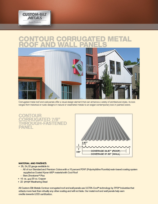 Sales Sheet: Contour Corrugated Metal