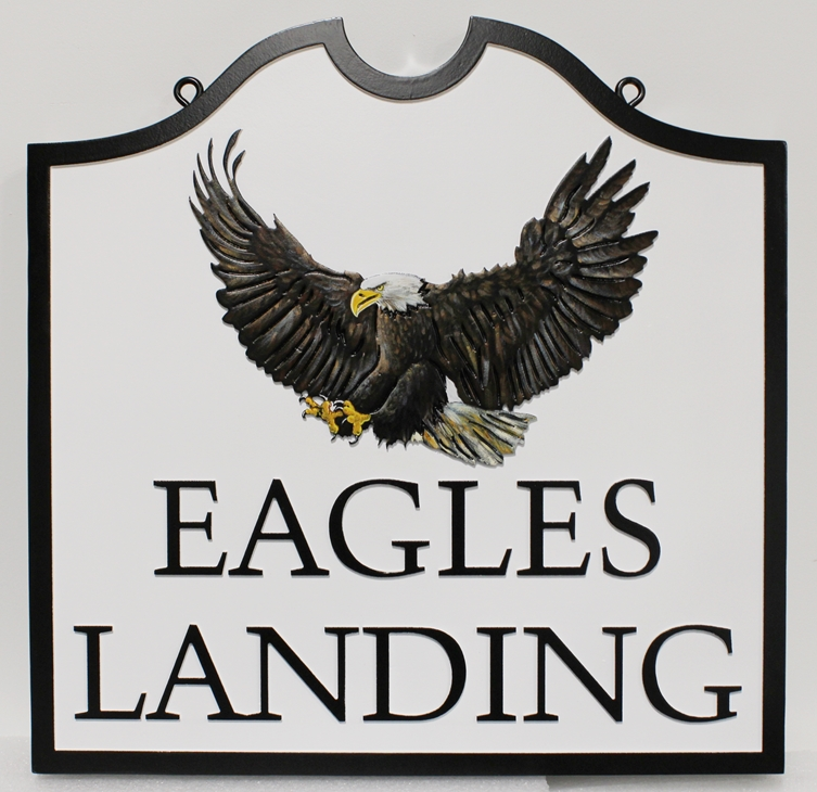 "M22725  - Carved HDU Cabin Sign for ""Eagle's Landing"", with Bald Eagle as Artwork"
