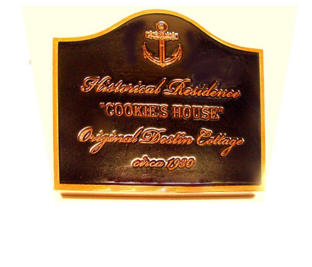 F15974 - Carved,  HDU Sign for Historical Cottage Residence, Carved Anchor