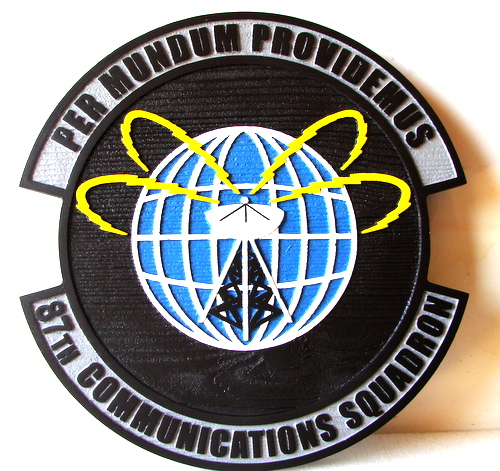 "LP-4120- Carved Round Plaque of the Crest of the 87th Communications Squadron, ""Per mundum providemis"",  Artist Painted"