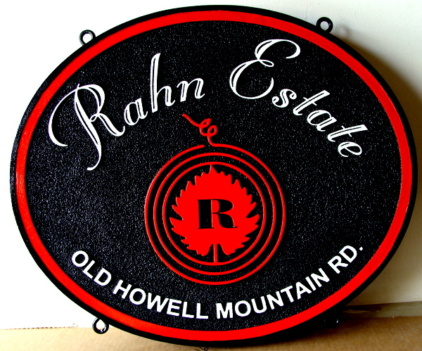 "R27067 - Hanging Carved HDU Winery Sign, ""Rahn Estate"""