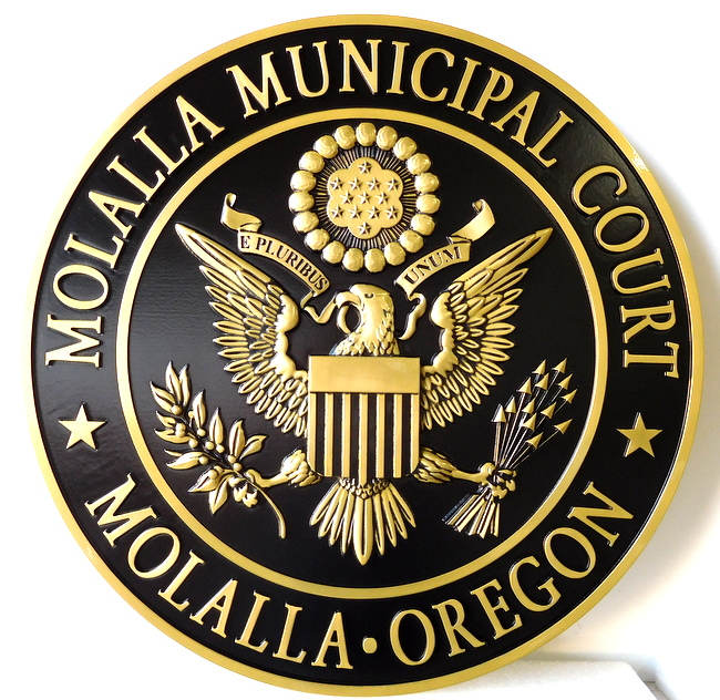 A10861 - Polished Brass-Coated Plaque for the Municipal Court of Mollalo, Oregon, featuring the US Great Seal.