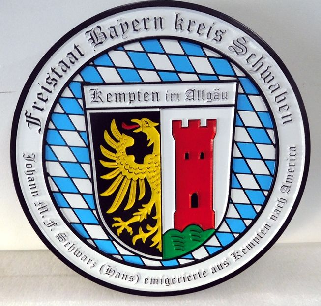 UP-3115 - Engraved Custom Wall Plaque of a Family Wappen, Artist Painted