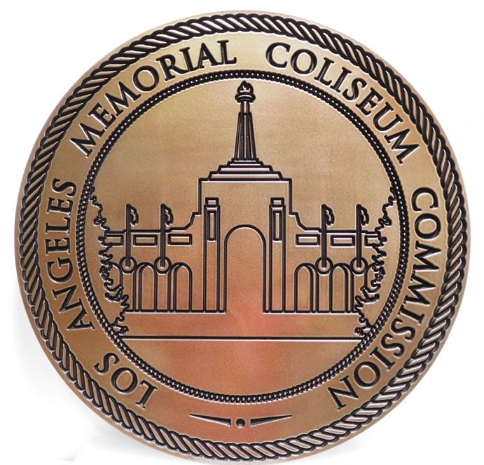 CP-1307 - Carved Wall Plaque of the Angels Memorial Coliseum in the County of Los Angeles, Engraved Bronze-Plated