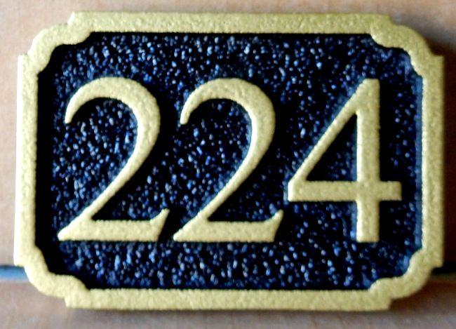 KA20913 - Sandblasted, Sandstone Texture Carved HDU Sign for House or Commercial Building Street Number