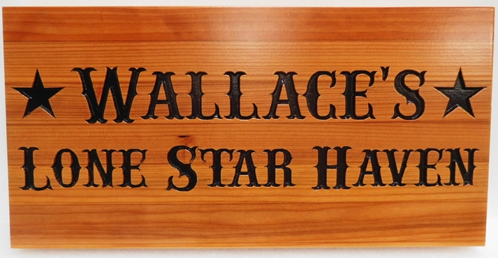 "M22042 - Engraved Cedar Address Cabin Sign ""Lone Star Haven"""