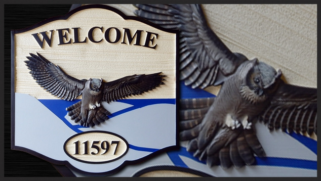 M22725 - Residence  Address Sign with Great Horned Owl in Flight