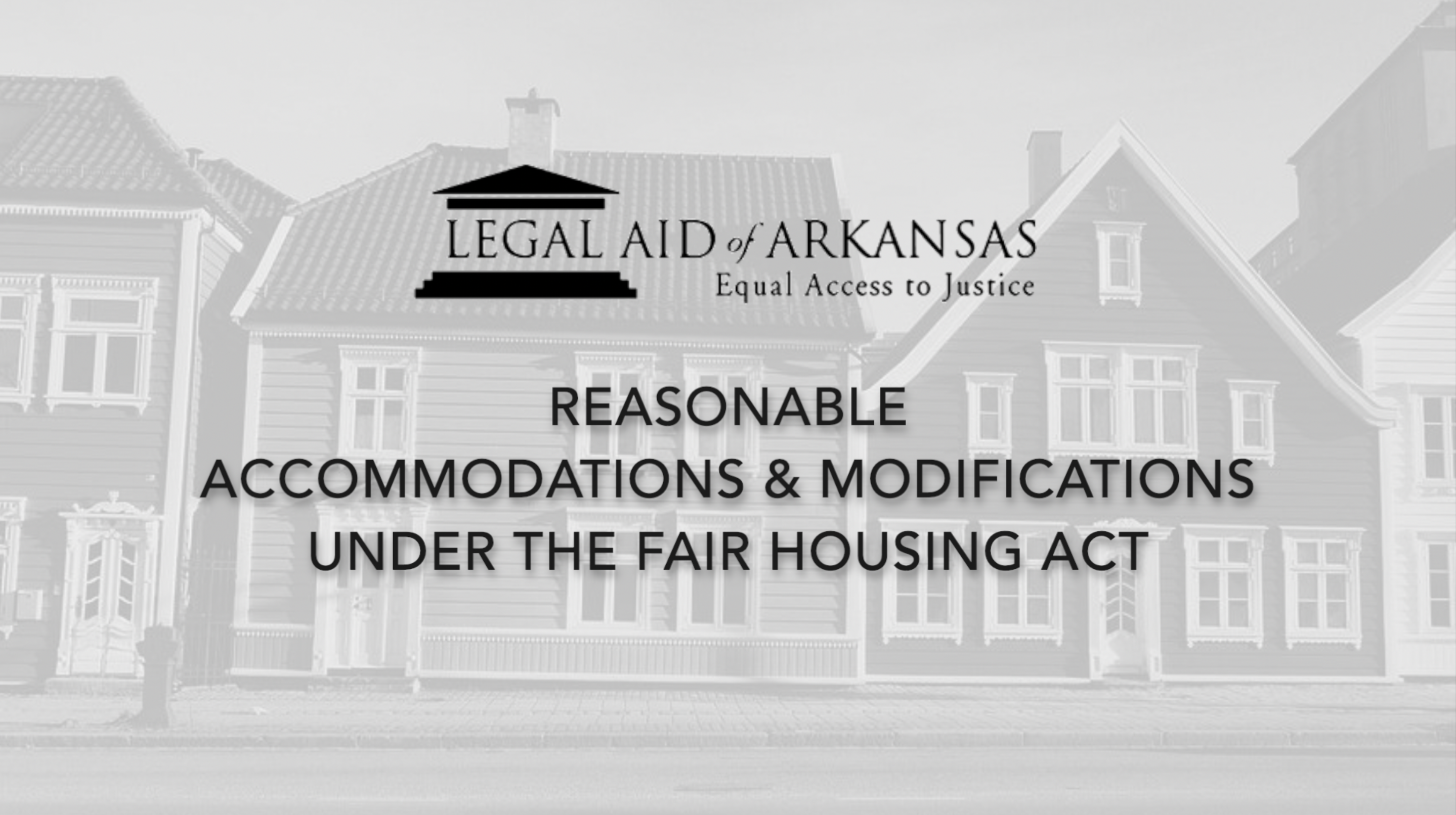 VIDEO - Reasonable Accommodations and Modifications Under the Fair Housing Act