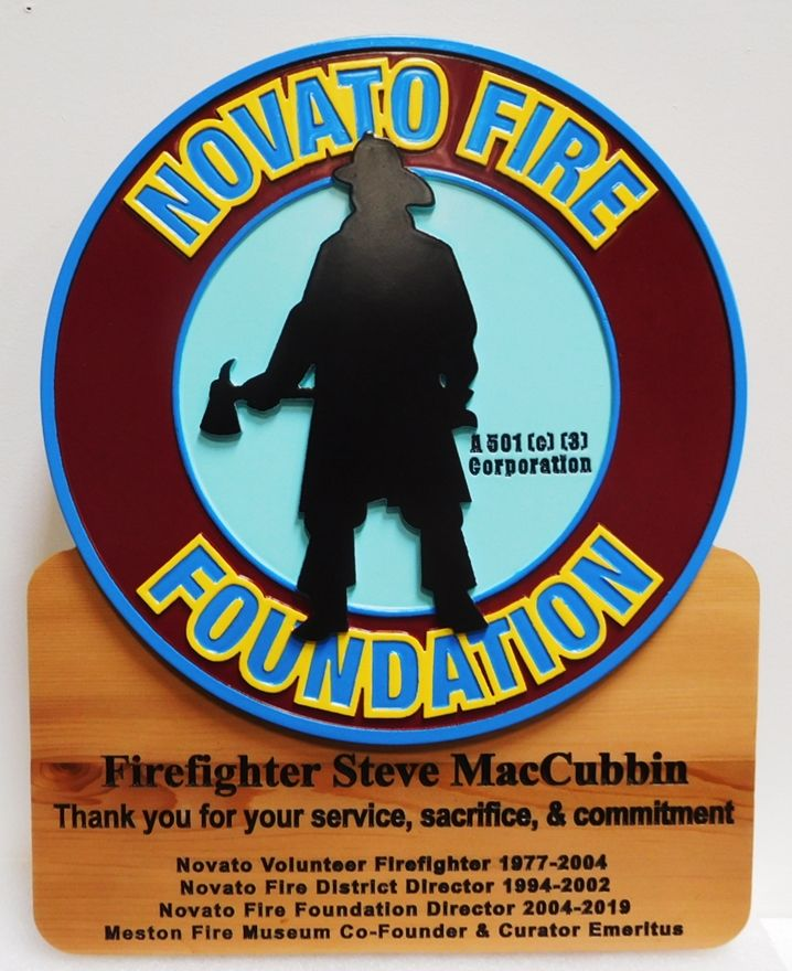 QP-3018 - Award Plaque for a Firefighter from the Novato Fire Foundation, with Silhouette of Firefighter as Artwork