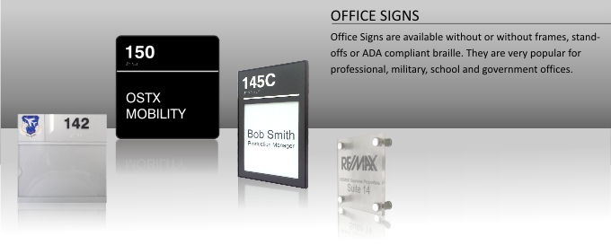 Office signs with frames