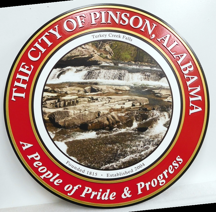 DP-1860- Carved Plaque of the Seal of the City of Pinson, Alabama,  Giclee Print