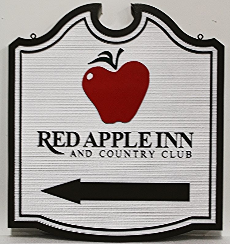 "T29066= Carved HDU  Directional sSgn for the ""Red Apple Inn and Country Club"""