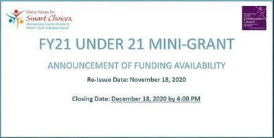 Re-Issue FY21 Mini-Grant Application Announcement