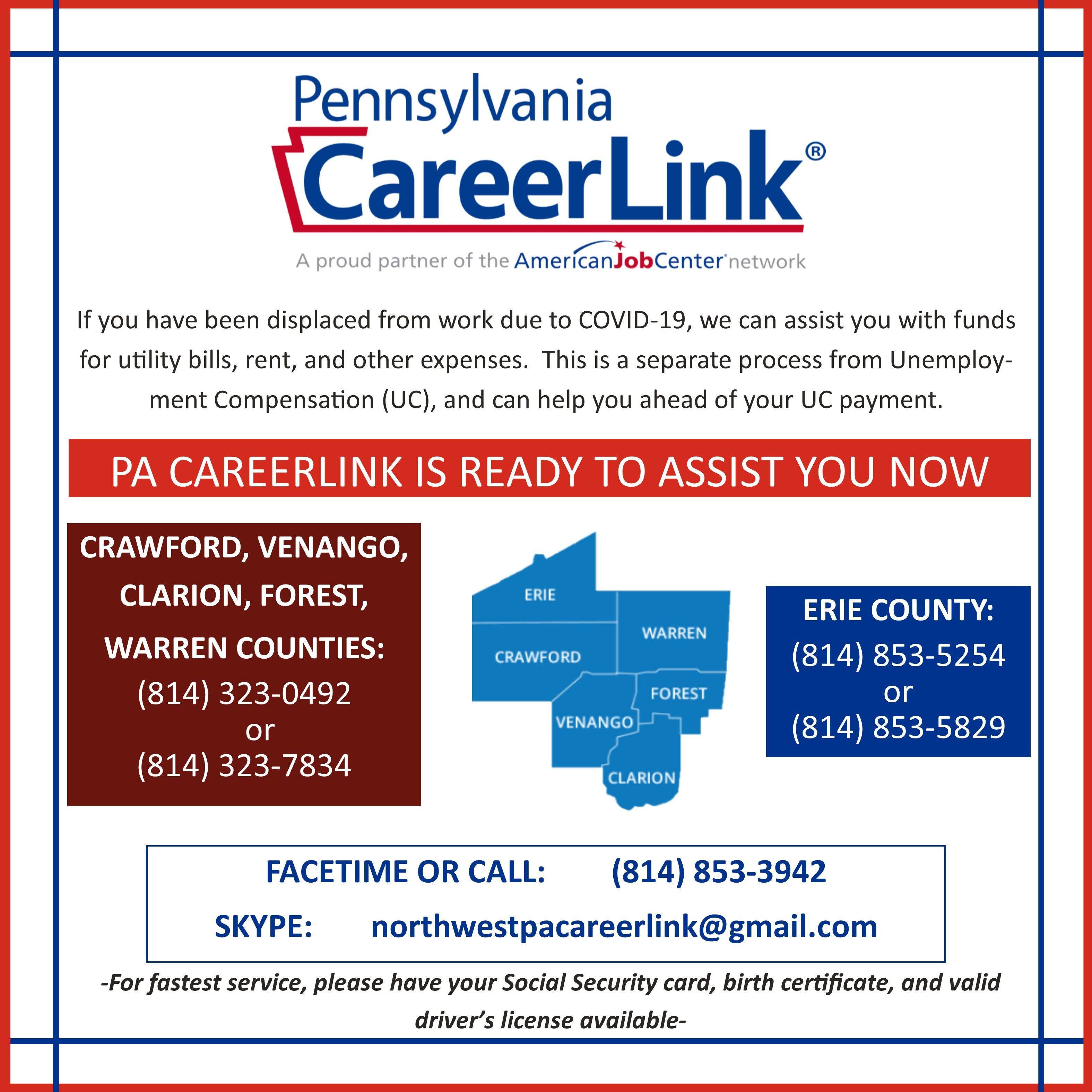 CareerLink Financial Assistance due to Job Displacement