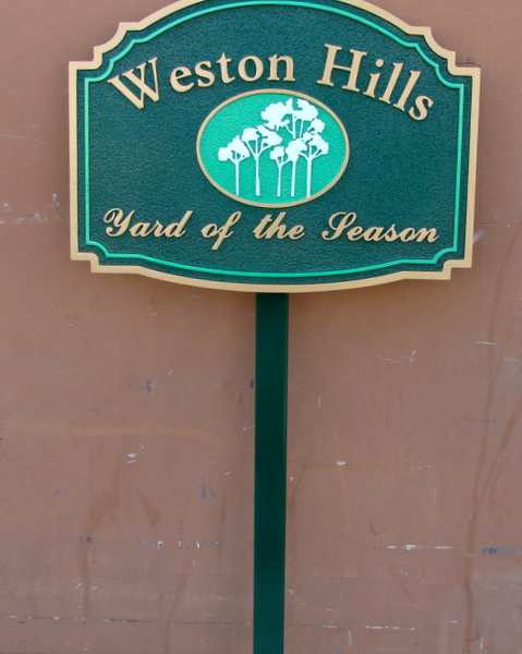 KA20948 - Carved, HDU Yard-of-the-Season Sign with 5 Trees for Home Owners' Association