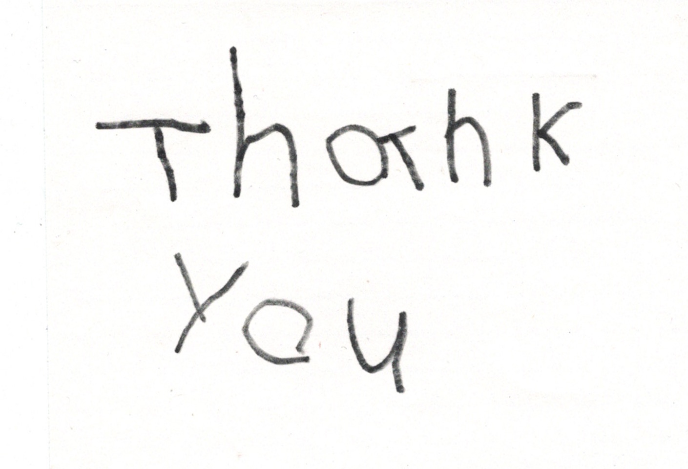 The words thank you written by a child