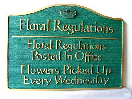 GC16360 - Carved HDU Floral Regulations for Oakmont Cemetery