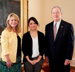 """Senate Majority Leader J.T. """"Jabo"""" Waggoner, Connie Nolen, & Scarlett Lara Alcantara."""