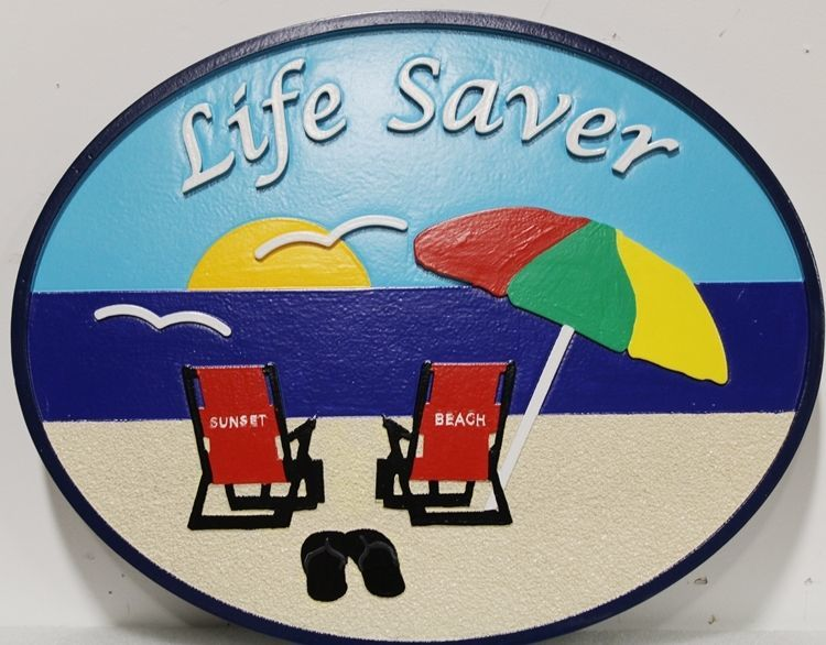 "L21032 -  Carved and Sandblasted 2.5-D Multi-level Relief HDU Beach House Name  Sign ""Life Saver""."