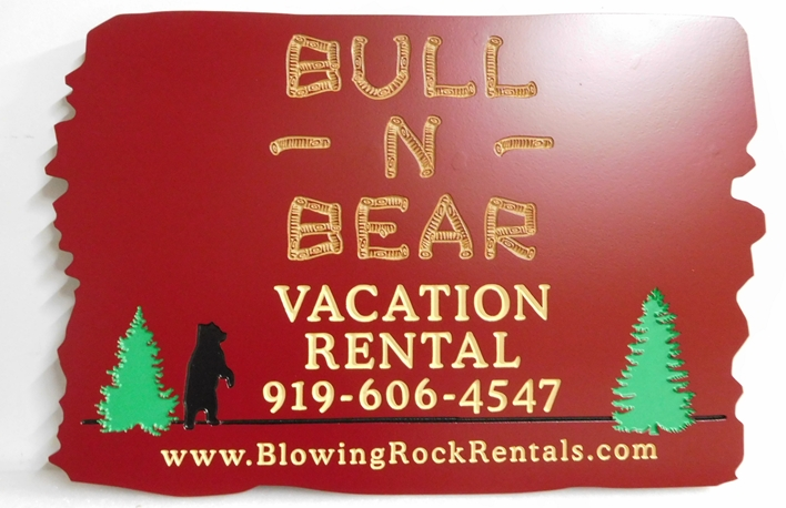 "M22890 - Engraved Cedar Wood ""Bull 'N Bear"" Vacation Cabin Rental Sign"