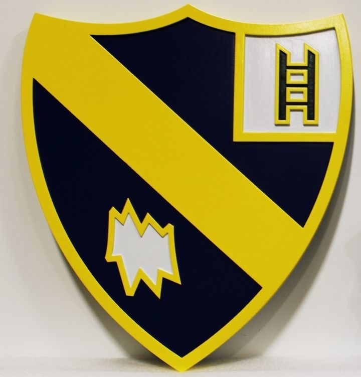 MP-2089 - Carved 2.5-D HDU Plaque of a Shield Crest/Insignia of a US Army Unit