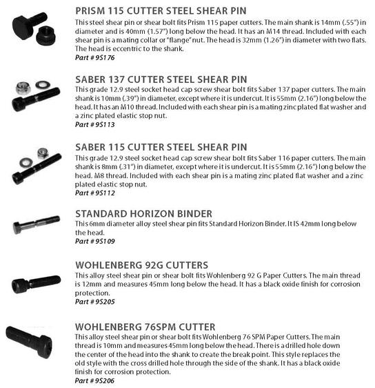 Prism, Saber 137, Saber 115, Horizon, Standard Horizon, Wohlenberg shear pins and shear bolts