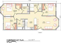 3 Bedroom 1112 SF
