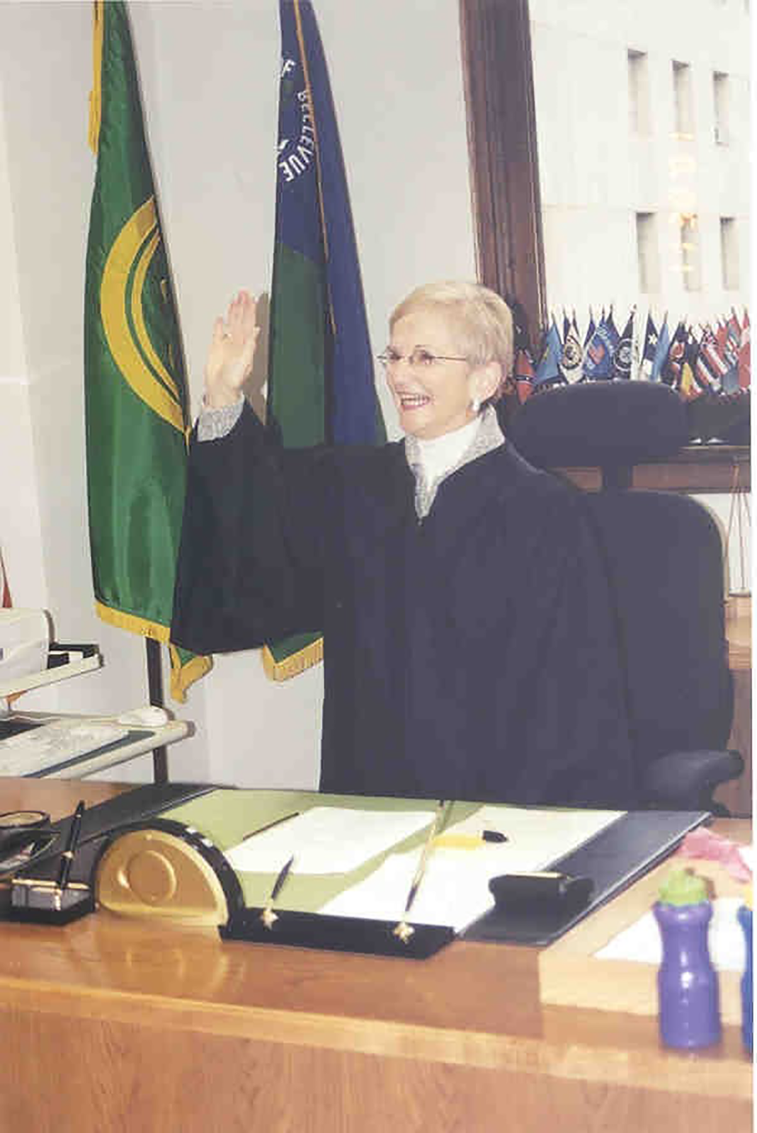 Justice Bridge accepting her second oath of office, 2002.