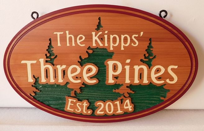 "M22063 -  Carved and Sandblasted  Cedar Wood  ""Three Pines""  Cabin Sign"