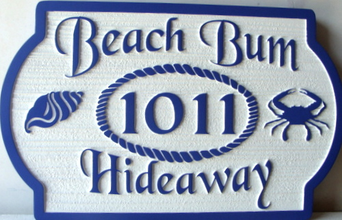 L21570 - Sandblasted HDU Beach House Name and Address Plaque