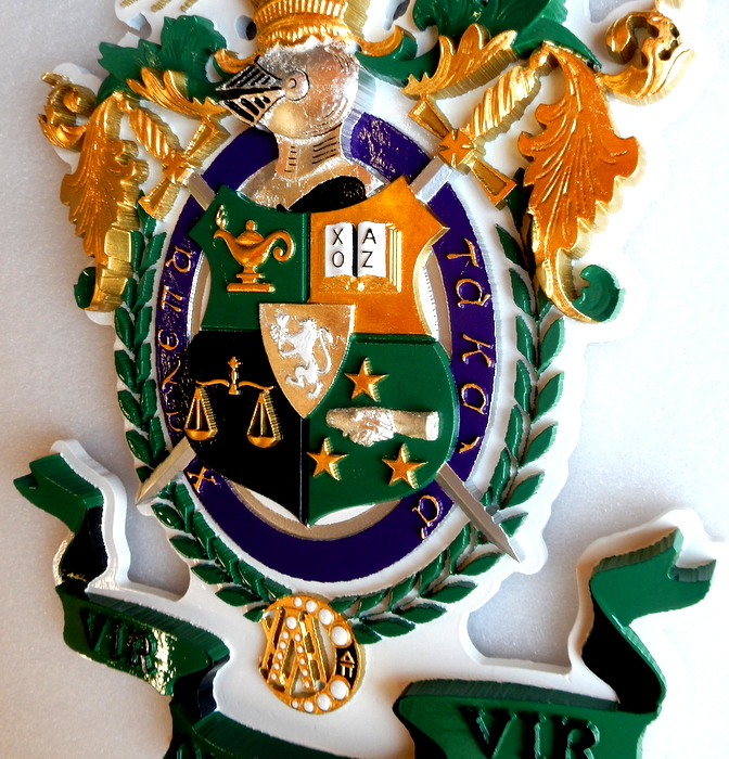 M7340 - Gold and Silver-leaf Gilded Carved 3D Wall Plaque for Lambda Chi Alpha Fraternity Coat-of-Arms