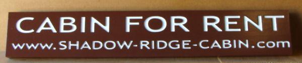 """N22037 - Engraved Cedar  Wood  """"Cabin For Rent"""" Sign"""
