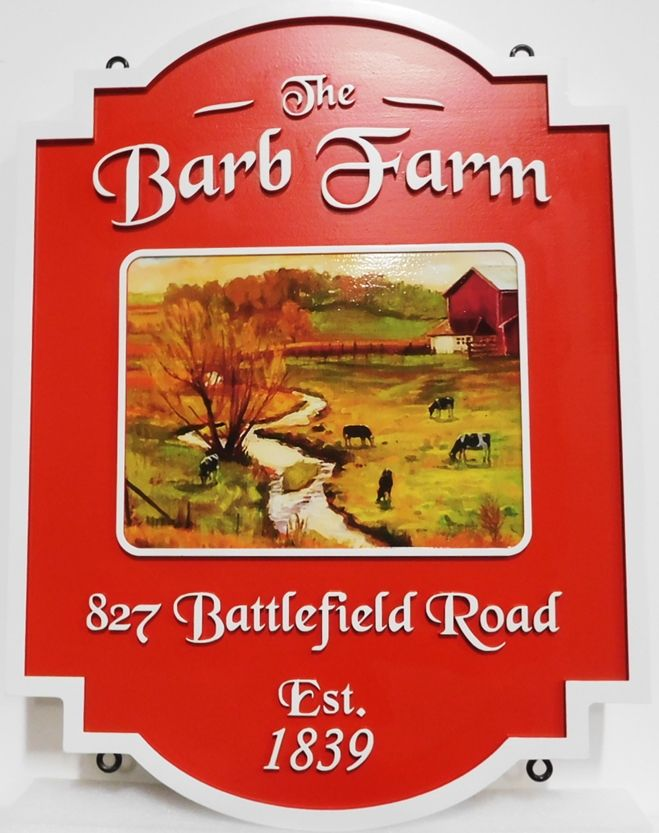 """O24802 - Carved HDU Farm Name  and Address Sign """"Barb Farm"""" with Printed Giclee Applique of a Farm Scene Oil Painting"""