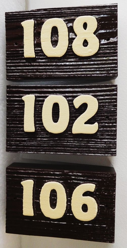 KA209230- Carved Cedar Wood Apartment Unit  Number Signs, Sandblasted to Show Wood Grain for a Rustic Look