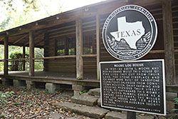 Edith Moore log cabin historical marker