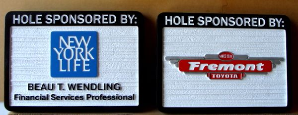 E14579 – Carved and Sandblasted HDU Golf Hole Sponsor Signs, New York Life and Toyota